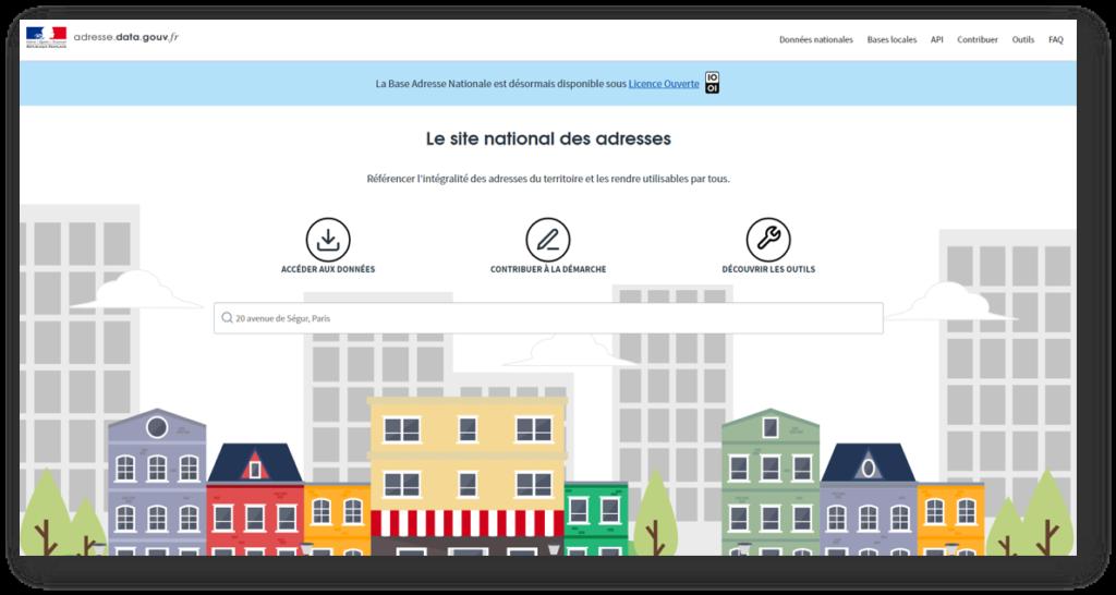 Page d'accueil du site adresse.data.gouv.fr : la Base Adresse National Française