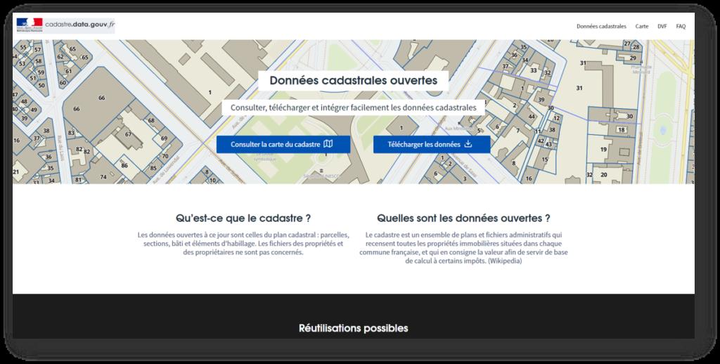 Page d'accueil du site cadastre.data.gouv.fr : la source open data sur les données cadastrales françaises