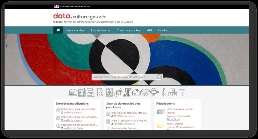 Page d'accueil de la plateforme data.culture.gouv.fr la source open data du Ministère de la Culture