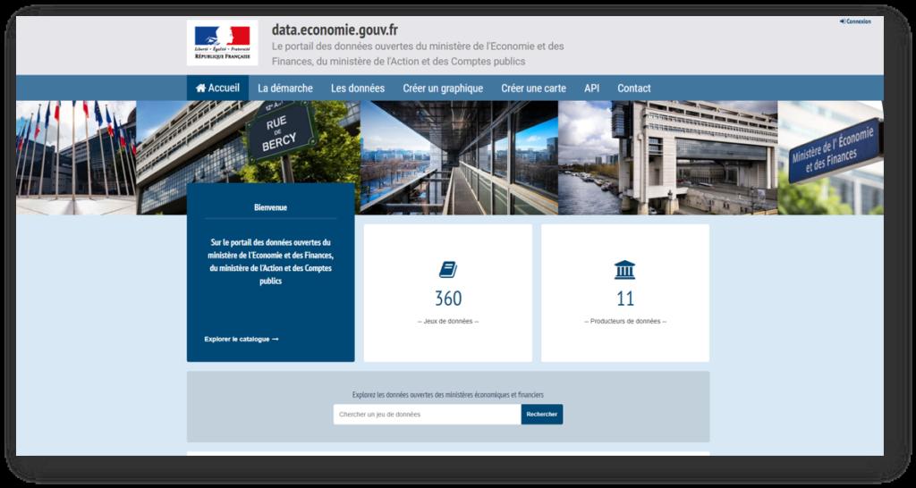 Page d'accueil du site data.economie.gouv.fr la plateforme open data des ministères économiques et financiers