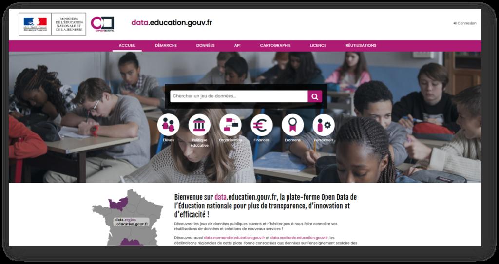 Page d'accueil du portail data.education.gouv.fr : le site dédié à l'open data de l'éducation nationale