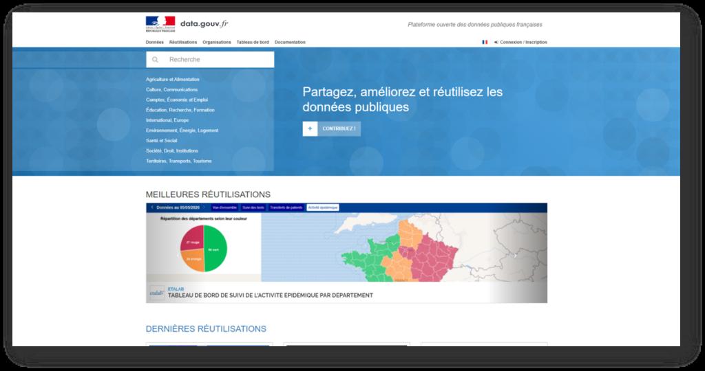 Page d'accueil du site data.gouv.fr : la plateforme des données publiques ouvertes du gouvernement français