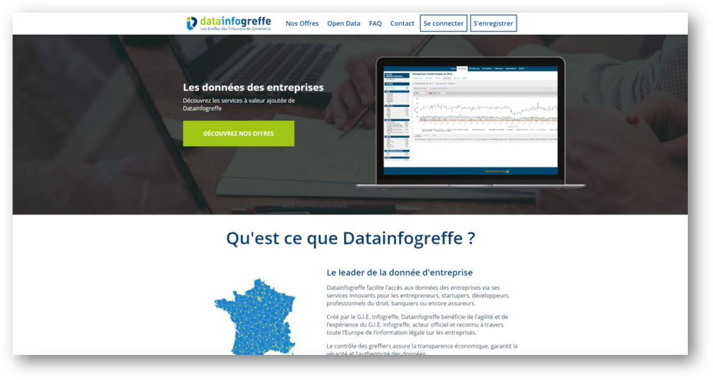 Page d'accueil du site datainfogreffe.fr : l'open data pour les entreprises