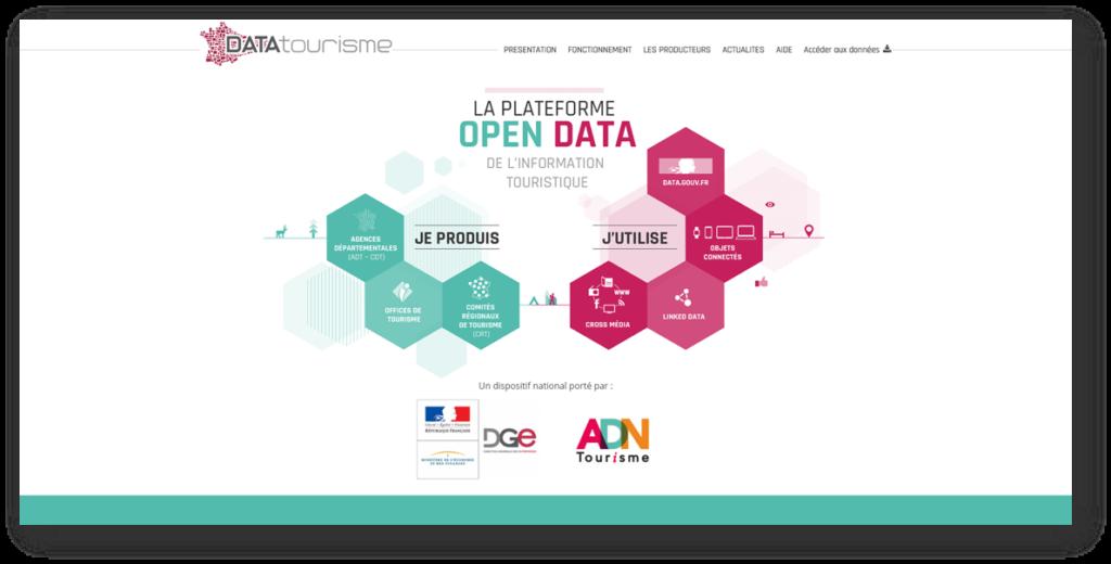Page d'accueil du site datatourisme.gouv.fr : la plateforme open data du tourisme en France