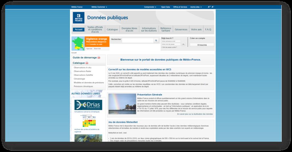 Page d'accueil du site donnéespubliques.meteofrance.fr le portail open data dédié à la météo et au climat