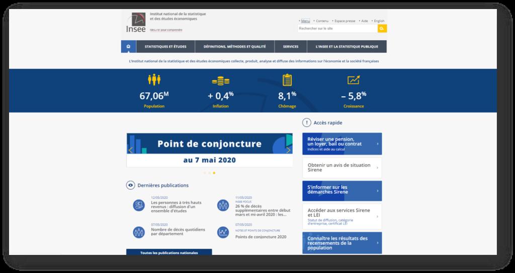 Page d'accueil du site insee.fr : les données ouvertes de l'Institut National de la Statistique et des Etudes Economiques