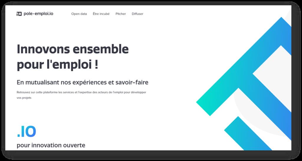 Page d'accueil du site web pole-emploi.io : les données ouvertes de Pôle Emploi