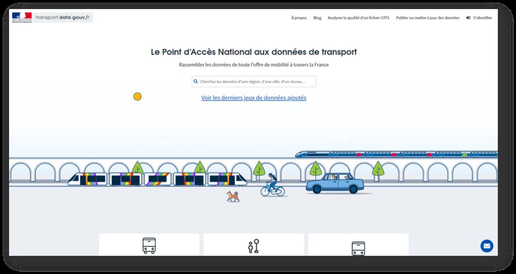 Page d'accueil du site transport.data.gouv.fr : le point d'accès national aux données de transport